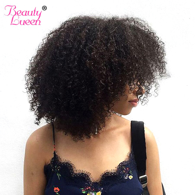 Mongolian Afro Kinky Curly Hair Extension 100% Human Hair Bundles 1 Piece Hair Weave Can Buy 3/4 PC Beauty Lueen Non Remy Hair