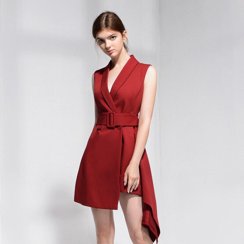 DEAT 2019 新夏のファッションの女性服ターンダウン襟ノースリーブハイウエスト非対称ドレス女性 WG56503L OL  グループ上の レディース衣服 からの ドレス の中 1