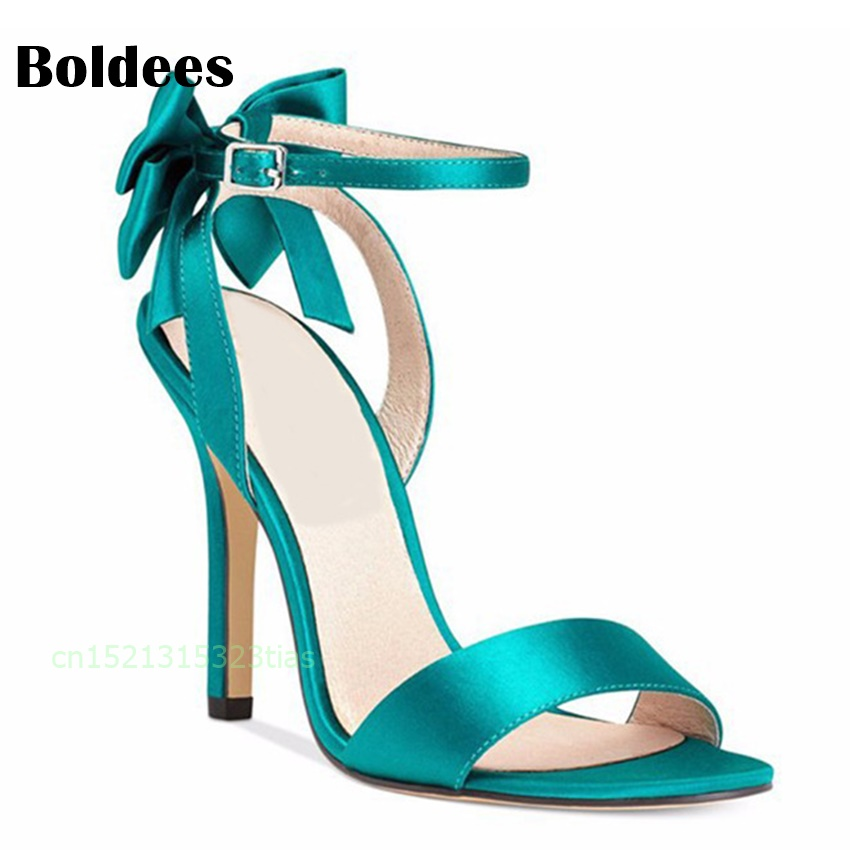 Woman Bow Knot High Heel Ankle Strap Sandals Belt Designer Bridesmaid Satin Prom Strappy Pumps Bride Wedding Bridal Shoes women mint summer sandals high heel platform flower pumps satin bride bridesmaid lady wedding bridal shoes woman sandals ep2063