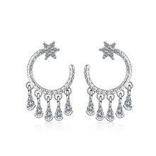 цена на New Trendy Star Zircon Droplet Tassel Earrings For Women 925 Sterling Silver Earrings  oorbellen pendientes Gift