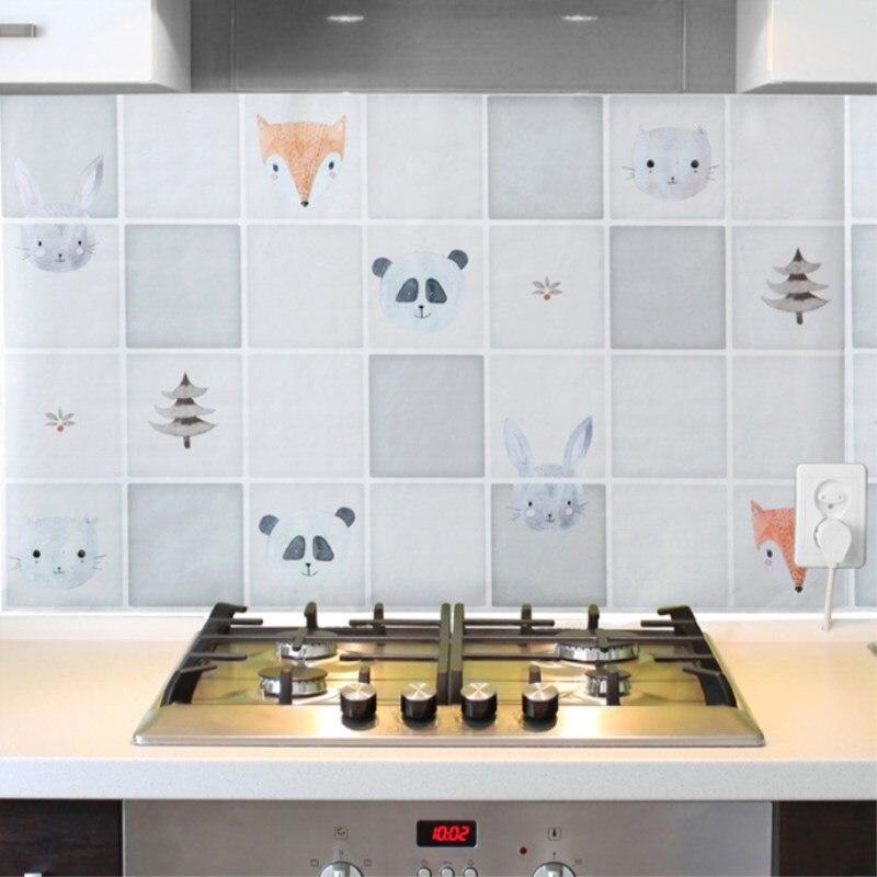 Wallpaper For Kitchen Cabinets: Kitchen Anti Oil Wallpaper Tiles Self Adhesive Wallpaper