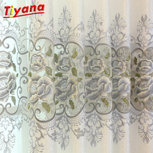Light Shading Sheer Curtain Semi Blackout European Embroidery Tulle Grey Floral Luxury Valance WP147 *20