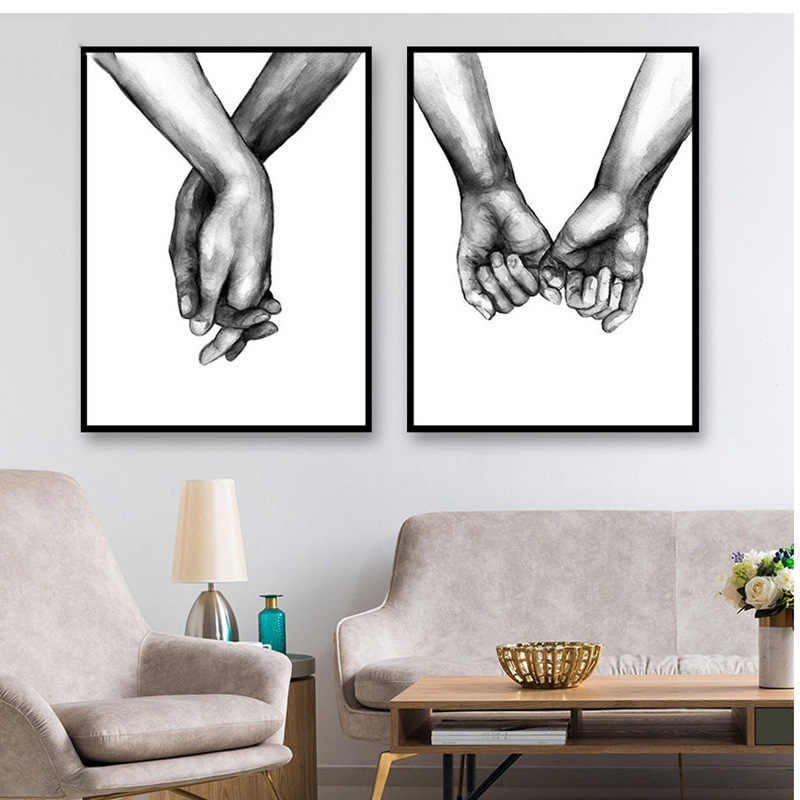 Nordic Holding Hands Canvas Lover Decorative Painting 1PC For Living Room Wall Art Black And White Frameless Poster