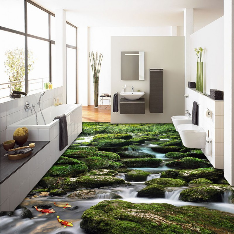 ФОТО Free Shipping Outdoor mountain stream landscape landscape painting self-adhesive non-slip bedroom living room flooring mural