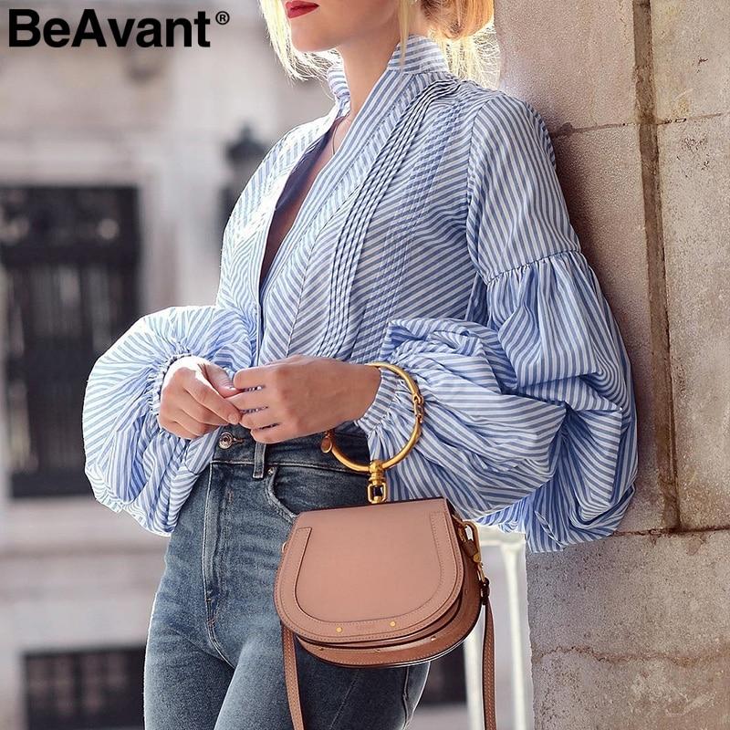 BeAvant Plaid v neck black   blouse     shirts   Women puff sleeve summer   blouse   tops 2018 Causal striped blue blusas tops   shirts   female