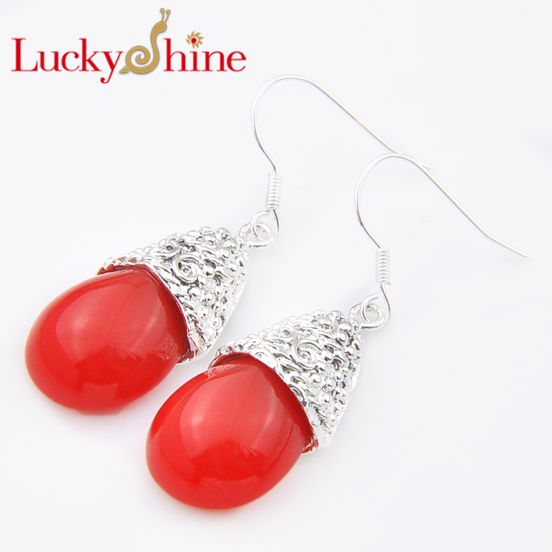 Promotion Luckyshine Antqiue Fire Red Created Quartz Silver Pated Holiday Wedding Drop Earrings Russia USA Australia Earrings