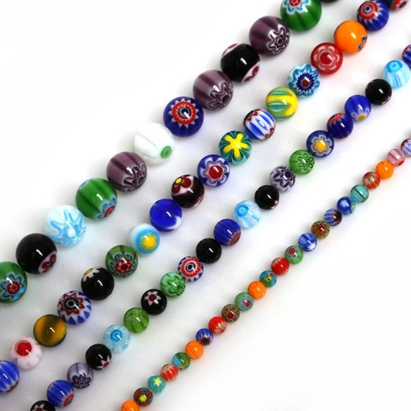 50 Square Millefiori Glass Spacer Beads