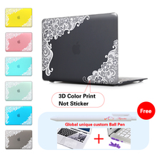 White Lace Floral Insert Dark Red Laptop Computer Bag For Apple Mac Macbook Pro 15 Case