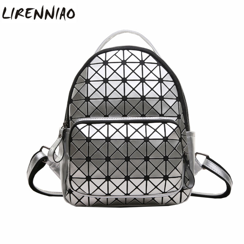 Women Backpack Geometric Plaid Sequin Female Scool Backpacks For Teenage Girls PU Leather Bagpack Holographic Women