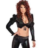 Wonder beauty Fashion Steampunk Rivet Vinyl Bodysuit Black Gothic Long Sleeve Crop Top Long Pants Sexy Rivet Nightclub Costume