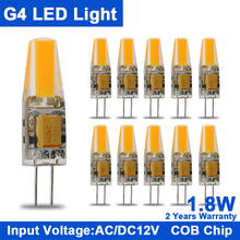 10Pcs Mini G4 COB LED Lamp/Bulb/Light 12 v led bulb AC&DC 1.8W 3W COB Light Bulb Chandelier Light Super Bright Replace Halogen