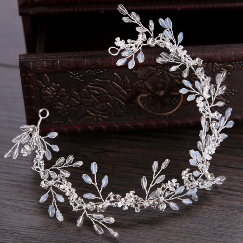 Bride Hair Band White Crytal Headband Wedding Bridal