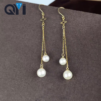 QYI Fine Jewelry 18K Yellow Gold Earrings Natural Fresh Water Pearl Pearl Women Wedding Engagement Earring Jewelry