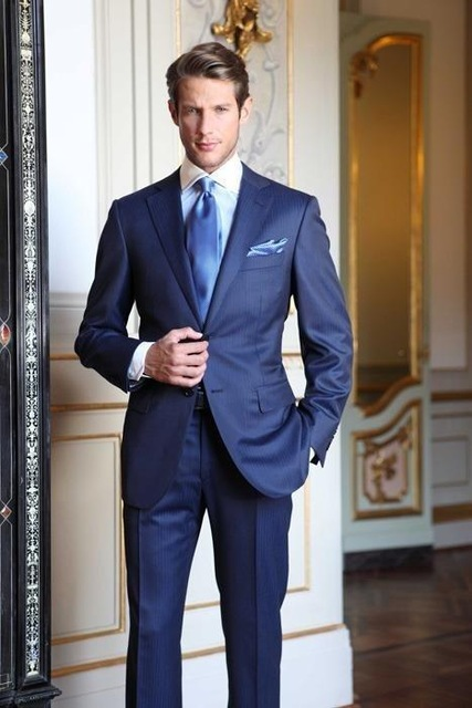 Royal Blue Custom Made Mens Grooming Formal Suits High Quality Stylish Mens Business Fashion 2 Pieces Costume Suits Jacket Pants