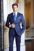 Royal Blue Custom Made Mens Grooming Formal Suits High Quality Stylish Business Fashion 2 Pieces Costume Jacket Pants