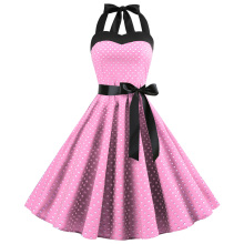 купить Sexy Retro White Polka Dot Dress 2019 Audrey Hepburn Vintage Halter Dress 50s 60s Gothic Pin Up Rockabilly Dress Plus Size Robe дешево