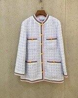 Высокое качество твид куртки пальто для женщин 2019 Весна Элегантный твид G080