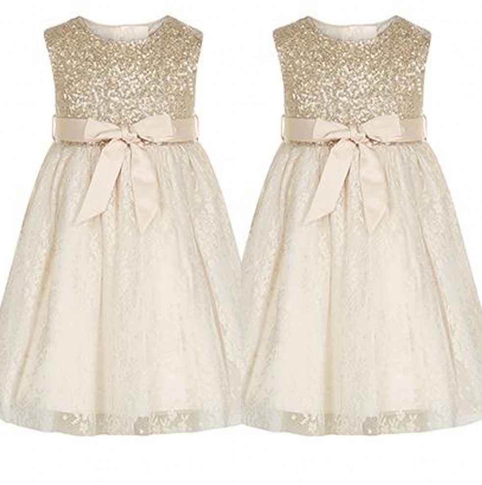 Cute Lovely Lace   Girls     Dress   Scoop A-Line Floor Length Bow Sash Sequins Organza Lace   Flower     Girls     Dresses   Little   Girl   Party Gown