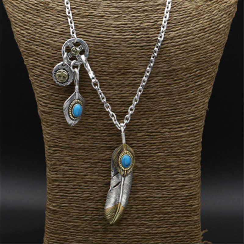 Real Solid 925 Sterling Silver Long Pendant Necklace Men Women Blue Natural Stone Vintage Indian Style Men Necklace Silver vintage style rose pendant necklace