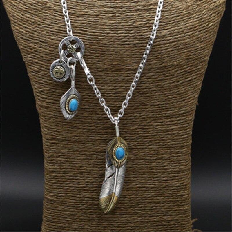 Véritable solide 925 en argent Sterling Long pendentif collier hommes femmes bleu pierre naturelle Vintage Style indien hommes collier argent