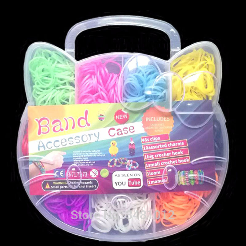 Rubber Loom Bands Weaving Braided Bracelet Tool DIY Kit Boxed Kids Plaiting Creativity Toys for Children Girls Hair Accessories