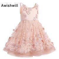 Новое поступление маленьких платье с цветочным узором для девочек платья для первого причастия для девочек Нарядные платья для Обувь для д
