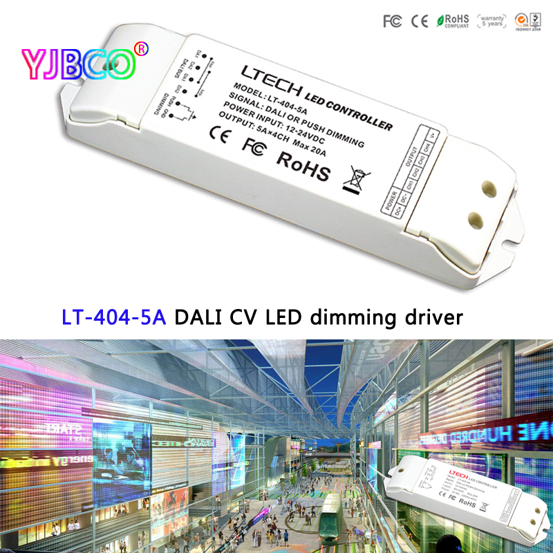 LTECH LT-404-5A DALI Led Dimming Driver,DC5-24V;5A*4CH Max 20A output;DALI/Push button signal input for single color led strip da6 ltech dali dimmer dali digital dimming signal output