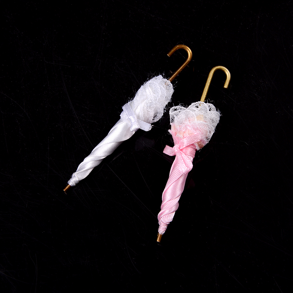 Style; In Dollhouse Miniature Royal Lady Lace Umbrella Decoration Doll House Accessories Birthday Gift Girl Kids Toys 9.2cm 1/12 Fashionable