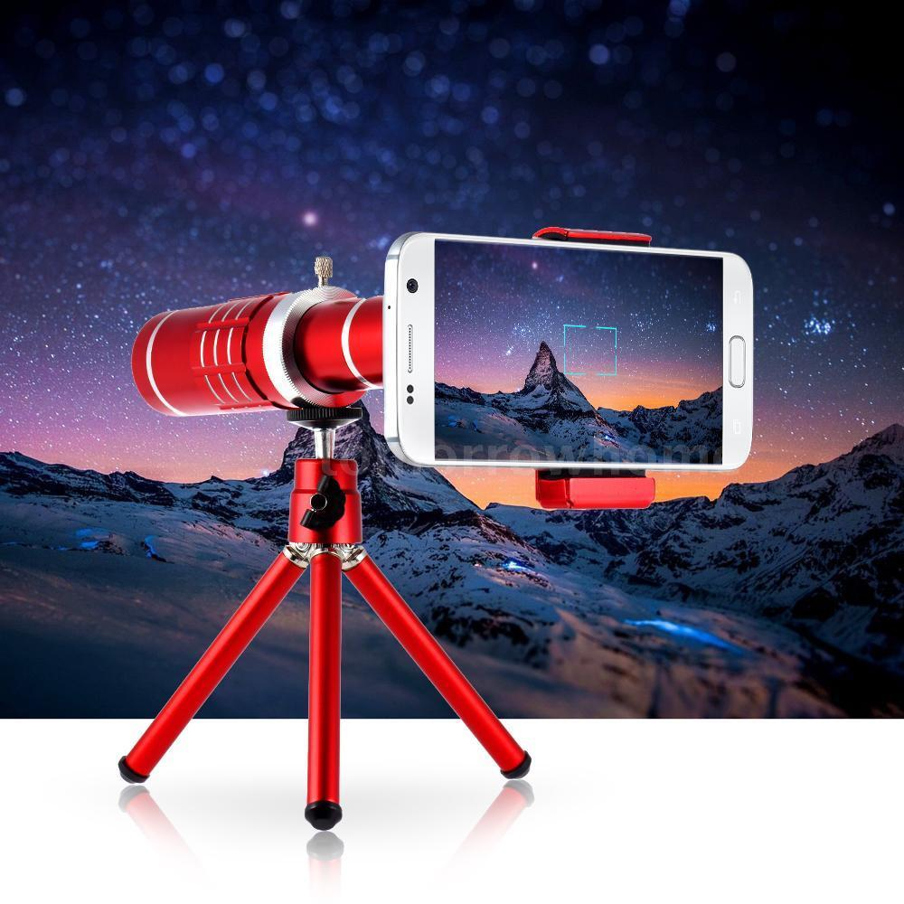 2017 Fahion Red Self Kits:Universal 18X Zoom Telescope Phone Camera Photo Lens+Aluminum Tripod For Samsung For iPhone 7 6S Plus universal 30x optical zoom telescope camera lens clip mobile phone telescope for iphone7 for samsung for vivo for huawei xiaomi