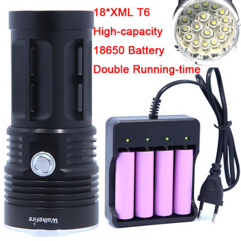 18T6 40000 lumens LED flash light 18 * XM-L T6 LED Flashlight Torch Lamp Light For Hunting Camp Use Rechargeable 18650 Battery s 9000 lumens led flashlight focus lamp led torch e17 cree xm l t6 zoomable lights ac car charger 18650 5000mah battery