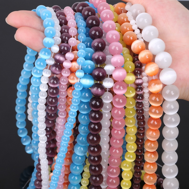 Round Opal Natural Cat Eye Beads For Making Jewelry Free Shipping 4/6/8/10/12mm Sophisticated Technologies White/pink/purple New 5aaa