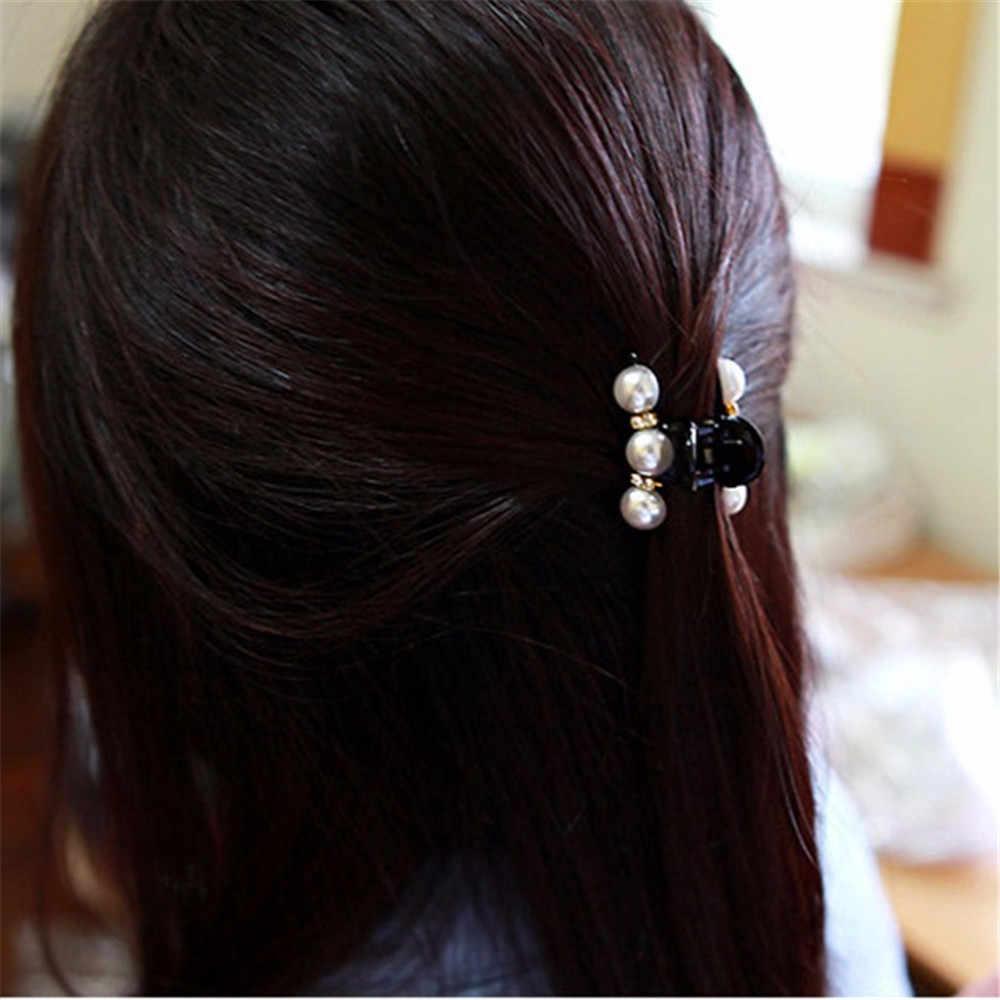 Модные женские заколки-крабы для волос, имитация жемчуга, Женские аксессуары для головы, пластиковые эластичные заколки для волос