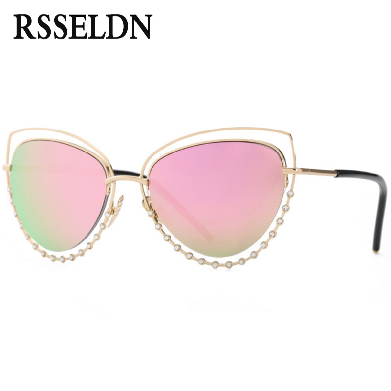 155335b402b8 RSSELDN 2018 Fashion Cat Eye Sunglasses Women Rhinestone Pink Luxury cateye  Sun glasses for Women Mirror High Quality Metal-in Sunglasses from Women s  ...