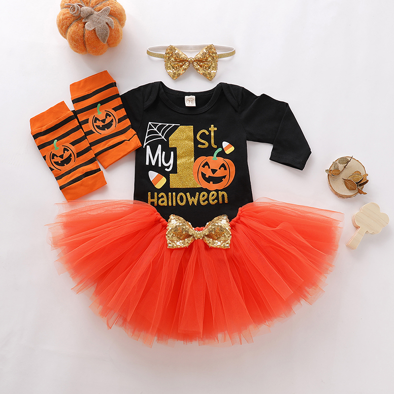 Newborn Baby Girl Clothes My First Halloween Costumes Clothing Infant Toddler Baby Girl's Outfits New born Pumpkin   Romper   Sets