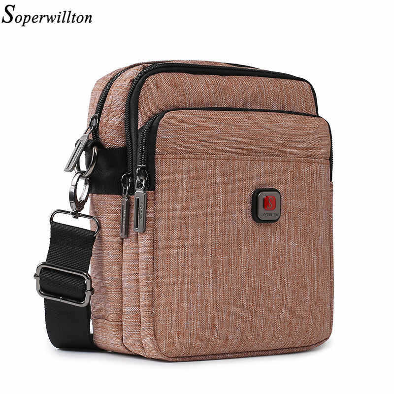 Soperwillton Men Shoulder Bag USB charging Port Crossbody Bags Men Belt Bag Water-resistent Oxford Travel Men's Bag #1042