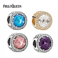 FirstQueen Best Selling 100% 925 Sterling Silver Beads Sky-Azul Cristal Radiante Corações Charme Fit FirstQueen Pulseira DIY Jóias