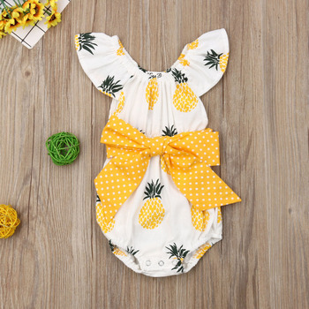 Pudcoco Newborn Baby Girl Clothes Fly Sleeve Pineapple Print Bowknot Cotton Romper Jumpsuit One-Piece Outfit Sunsuit Summer emmababy summer newborn baby girl clothes sleeveless striped bowknot strap romper jumpsuit one piece outfit sunsuit clothes