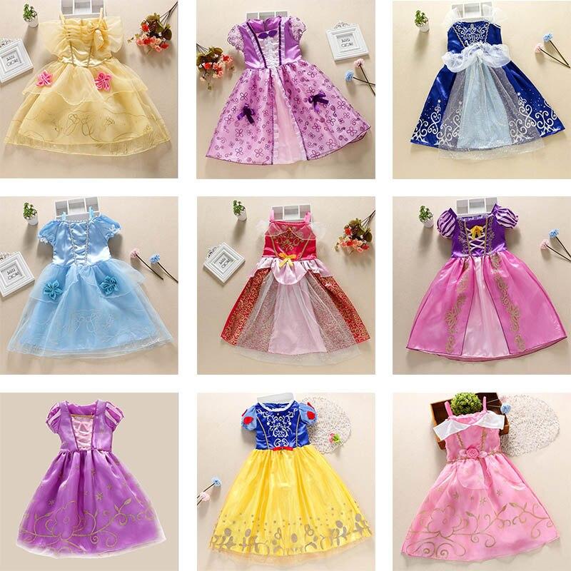 Meninas elza rapunzel neve branca princesa vestido crianças belle cinderela aurora sofia traje crianças dia das bruxas festa de aniversário vestido