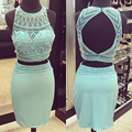 Luxury Short Turquoise Prom Dresses 2016 Beaded Two Piece Prom Dress Keyhole Back Blue Straight Gown Party Dresses For Prom RT07