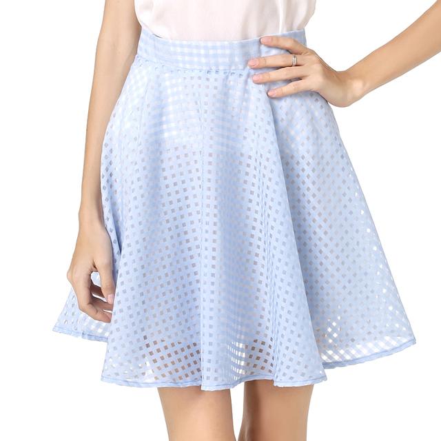 Mulheres Menina Organza Grade Mini Saia New Style Verão Elástico Cintura alta Zipper Ladies Feminino Saia Plissada Uma Linha de Tule saias
