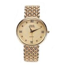 GLE y VDO Sencilla de Las Mujeres Relogio Feminino Dourado Reloj Pulsera de Cuarzo Reloj de Pulsera Nave Libre Del Regalo
