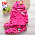 Spring Baby Boys Girls Clothing Sets Velvet Hooded Coat + Pants Kids Tracksuits Hello Kitti Tops Coats Children Clothing KD237