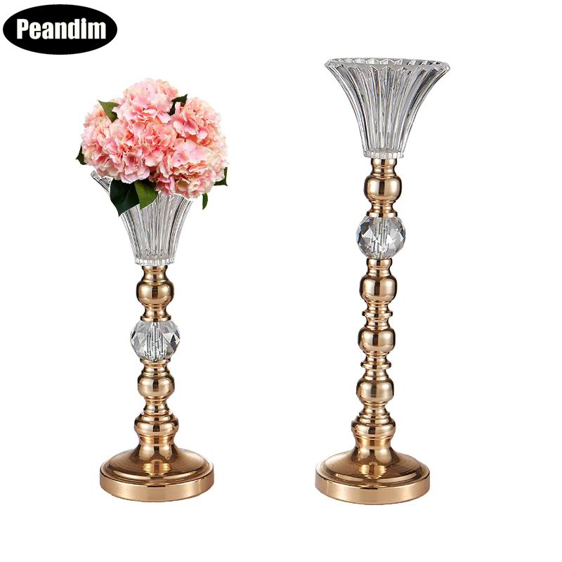 Peandim 10pcs/lot Crystal Metal Candle Holder Gold Plated Home Candlestick Party Table Vase Flower Rack Wedding Road Lead Decor Crease-Resistance Candles & Holders