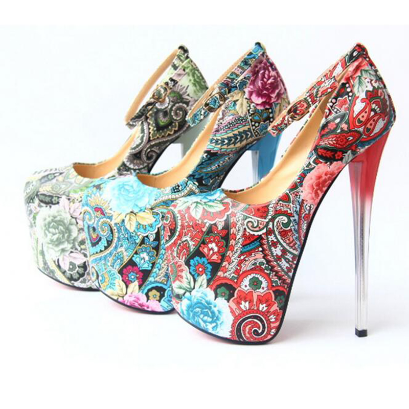 ФОТО Christmas The New fashion designs super high heels 20cm stiletto Ethnic style single size shoes 5-8.5 us size