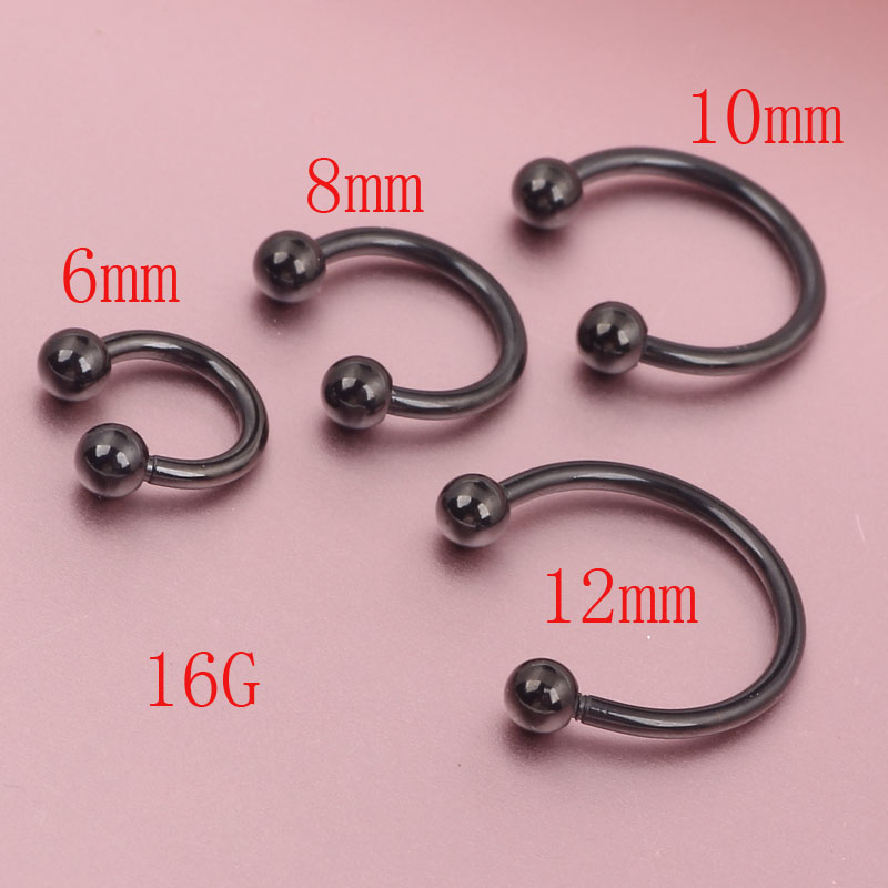 Black horseshoe bar lip nose septum tragus ear ring for Types of body jewelry rings