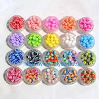 100 pçs diy pulseira acessório crianças artesanato departamento 18 cor 8mm forma redonda resina tarja contas jóias descobertas