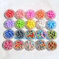 100 pcs pulseira DIY acessório crianças artesanato departamento 18 Color 8 MM forma redonda resina listra Beads resultados da jóia