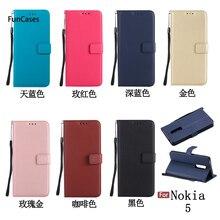 Multicolor Flip caja del teléfono Aksesuar Nokia 5 fundas Clips caso Kryty lindo medio envuelto para Nokia 5 Silicona telefonia