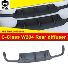 W204 задний диффузор ABS материал без отверстия черный диффузор, губа на задний бампер подходит для Benz W204 C180 C200 C250 задний диффузор для губ 12-14