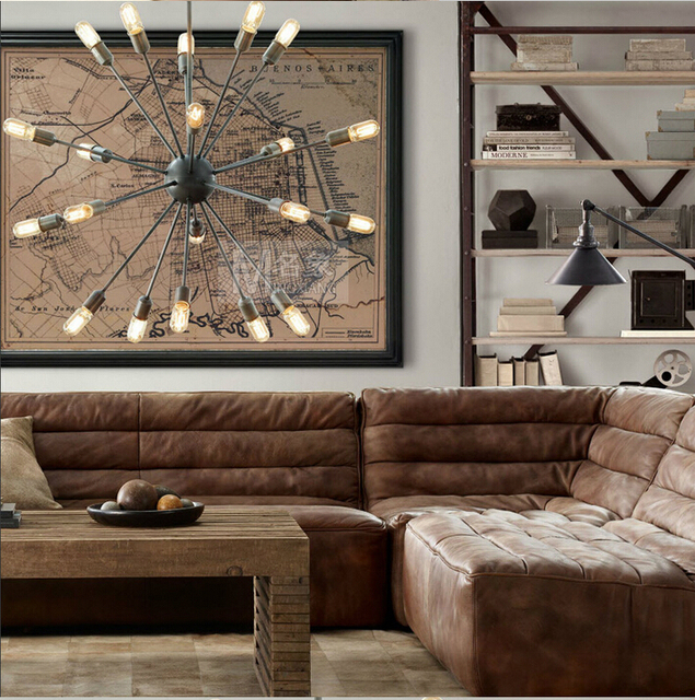 20 Head Loft Sputnik Chandelier American Warehouse Light Living Room Dining Lights With Eedison